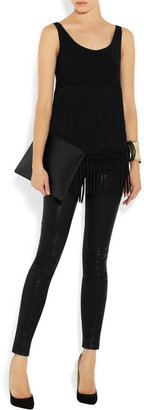 Moschino Fringed crepe top