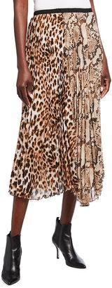 Loyd/Ford Leopard & Snake Print Pleated Midi Skirt