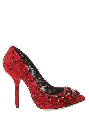 Dolce & Gabbana 105mm Bellucci Lace & Crystal Pumps