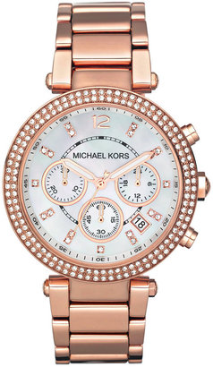 Michael Kors Women's Chronograph Parker Rose Gold-Tone Stainless Steel Bracelet Watch 39mm MK5491 $275 thestylecure.com