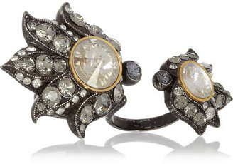Lanvin Blanche pewter-tone crystal two-finger ring