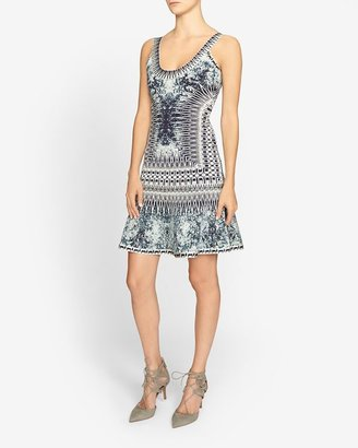 Herve Leger Denim Print Flare Hem Dress