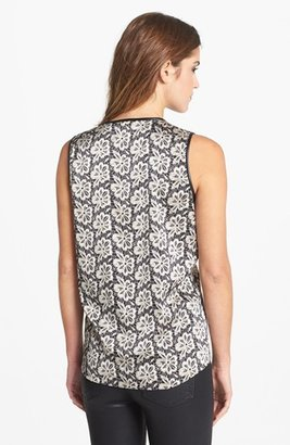Vince Camuto Faux Leather Trim Lace Print Shell