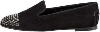 Tod's Tods Suede Smoking Slipper with Grommets, Black