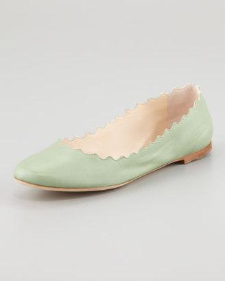 Chloé Scalloped Ballerina Flat, Turquoise