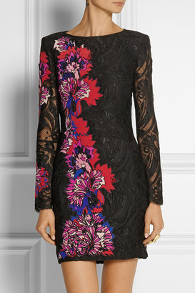 Emilio Pucci Floral-appliquéd lace mini dress