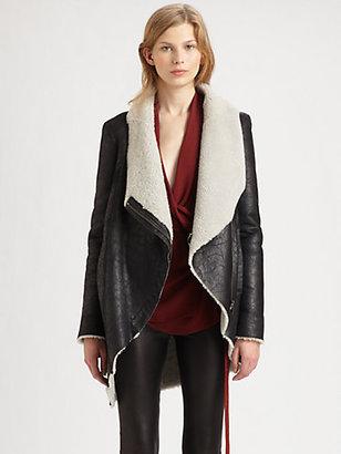 Helmut Lang HELMUT Weathered Leather Shearling Coat