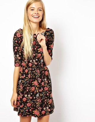 Asos Skater Dress With Wrap Back In Peacock Print