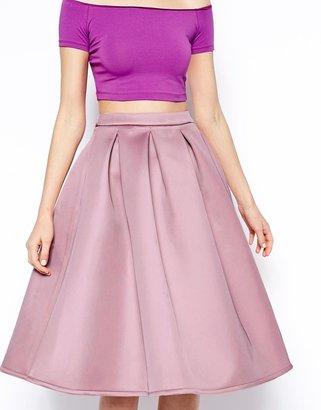 Asos Premium Prom Midi Skirt In Bonded Satin
