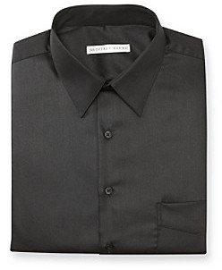 Geoffrey Beene Men's Black Sateen Regular Fit Dress Shirt