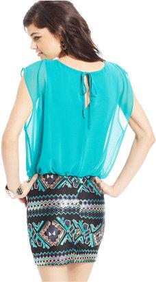 As U Wish Sequined Blouson Dress