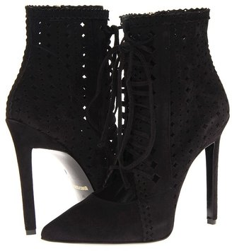 Roberto Cavalli Perforated Goat Suede Bootie (Nero) - Footwear