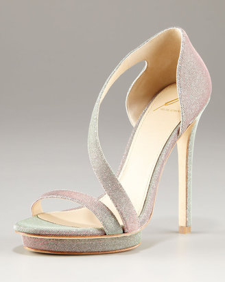 Brian Atwood Consort Open Toe Sparkly Strappy Platform Sandal