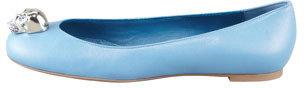 Alexander McQueen Skull-Toe Ballerina Flat, Cadet Blue
