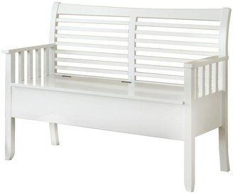 Unbranded 48 in. L Solid Wood Bench with Storage in White