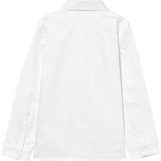 Carrément Beau White Cotton Oxford Shirt with Collar Detail