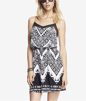 Express Aztec Print Elastic Waist Cami Dress