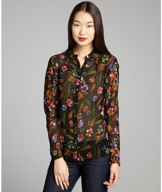 Nicole Miller black and orange floral printed chiffon blouse