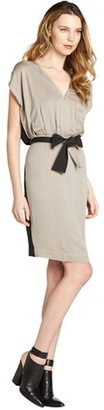 Fendi grey and black silk tie belt dress