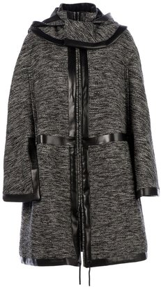 Givenchy contrast trim hooded coat