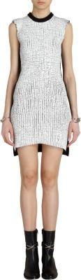 Balenciaga Contrast Back Crackled Paint Detailed Knit Dress