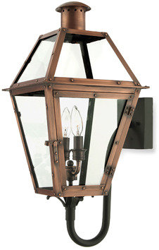 Quoizel Rue De Royal 2 Light Outdoor Bottom-Mount Lamp With Aged Copper Finish and Clear Glass