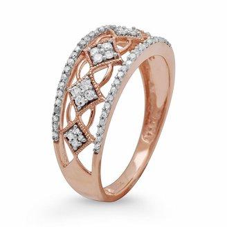 10k Rose Gold 1/4-Ct. T.w. Diamond Openwork Ring