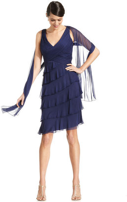Patra Dress and Shawl, Sleeveless Pleated Tiered