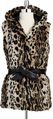 WD.NY Cheetah Print Faux Fur Vest