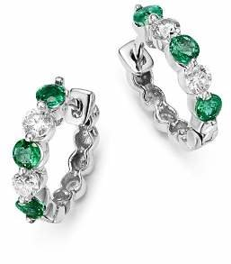 Bloomingdale's Emerald and Diamond Huggie Hoop Earrings in 14K White Gold - 100% Exclusive
