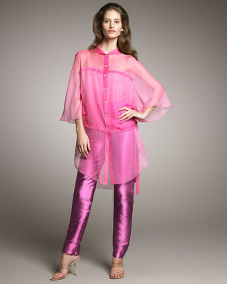 Ralph Rucci Silk Radzimir Cigarette Pants, Violet