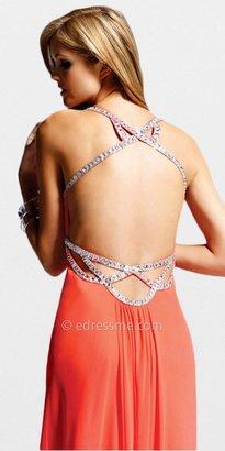 Faviana Coral Chiffon Beaded Prom Dresses