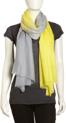 Lafayette 148 New York Ombre Cashmere Scarf, Citron/Gray