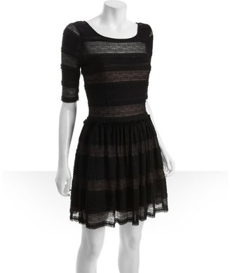 BCBGMAXAZRIA black lace fitted sleeve ruffle trimmed 'Loue' dress