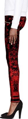 Balmain Black & Red Printed Jeans