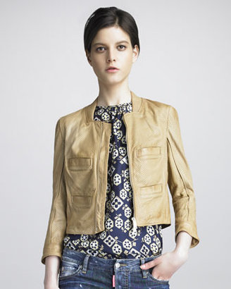DSquared DSquared2 Croisette Perforated Leather Jacket