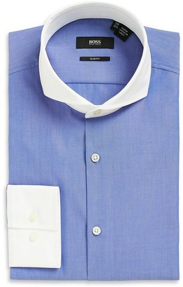 HUGO BOSS 'Johan' | Slim Fit, Extreme Spread Contrast Collar Cotton Dress Shirt by BOSS