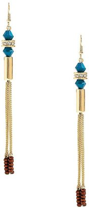 GUESS Gold-Tone Tassel Earrings with Blue Stone Detail