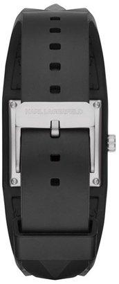 Karl Lagerfeld 'Perspektive' Pyramid Rubber Strap Watch, 32mm x 24mm