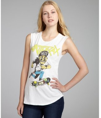 Chaser LA white cotton 'Anthrax' raw egde muscle tank
