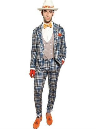 Linen And Silk Blend Checked Suit