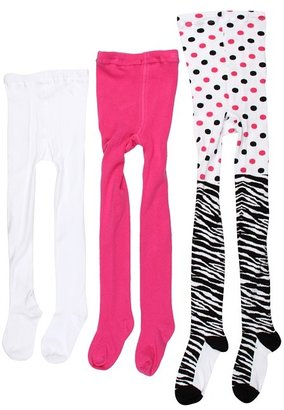 Jefferies Socks Zebra Tight/Seamless Organic Tight Three Pack (Infant/Toddler/Little Kid/Big Kid) (Black/Bubblegum/White) - Hosiery