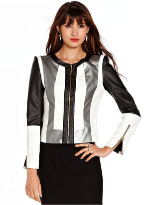 XOXO Juniors Jacket, Faux-Leather Colorblock