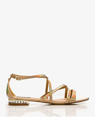 Forever 21 Bejeweled-Heel Faux Patent Leather Sandals