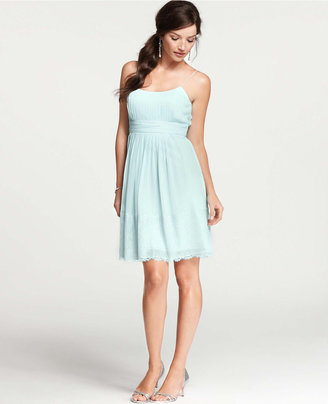 Ann Taylor Silk Georgette Pleated Slip Dress