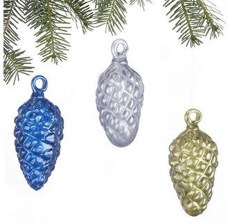 Crate & Barrel Set of 3 Glass Pinecone Ornaments
