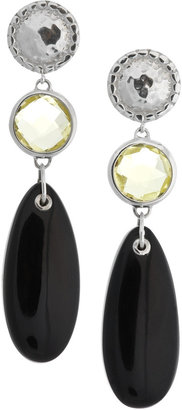 Monica Vinader Mini Luna sterling silver, green gold quartz and black onyx earrings