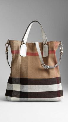 Burberry Medium Canvas Check Tote Bag