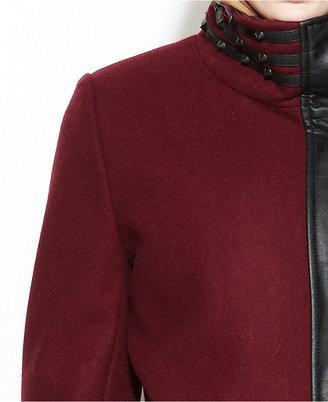 Sam Edelman Circus by Asymmetrical Wool-Blend Faux-Leather-Trim Coat