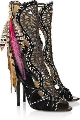 Jimmy Choo Kevan woven leather and snakeskin sandals
